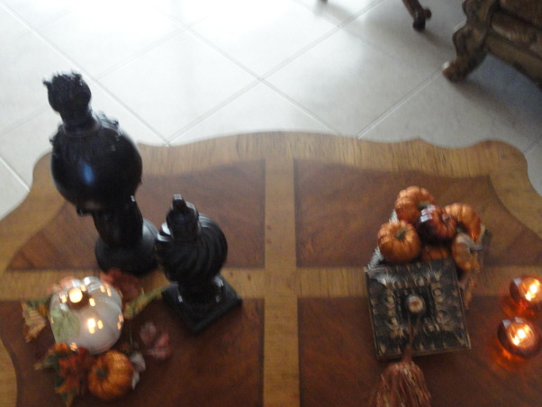 Thanksgiving time around our home :), Our entryway, dining room and living room decorated for the season :), Coffee table in living room , Holidays Design