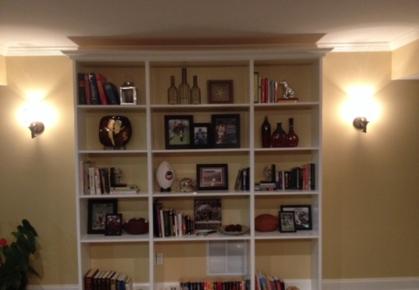 basement renovation,  The basement is our new family hangout , finish bookshelf                                      , Basements Design