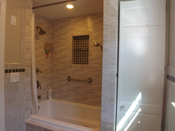 Remodeled Bathroom, AFTER, shower now has shower heads on both sides of tub., Bathrooms Design