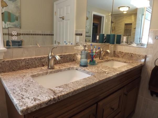 Remodeled Bathroom, AFTER: double vanity, granite countertop , Bathrooms Design