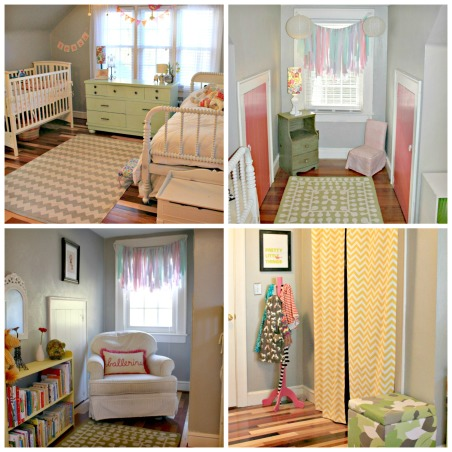 Shared girls room, This room is bright and colorful, but light and airy. , Girls' Rooms Design