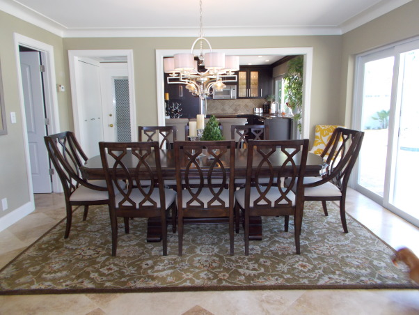 Dining Room Before and After, When we renovated our 1965 home, we made sure to take every detail into account.  we experimented in many ways. let us know how we did.  , Gorgeous table and travertine flooring, Dining Rooms Design