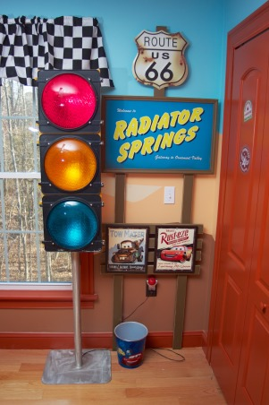 Radiator Springs, I have a three year old who is infatuated with Lightning McQueen and the world of Cars, so when we moved to a new home, I took the opportunity to create a little slice of Radiator Springs for him to live in., Boys' Rooms Design