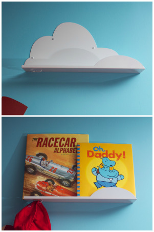 Radiator Springs, I have a three year old who is infatuated with Lightning McQueen and the world of Cars, so when we moved to a new home, I took the opportunity to create a little slice of Radiator Springs for him to live in., Cloud shelves hang around the room for my son's favorite bedtime stories, hats, and other knick knacks.  , Boys' Rooms Design