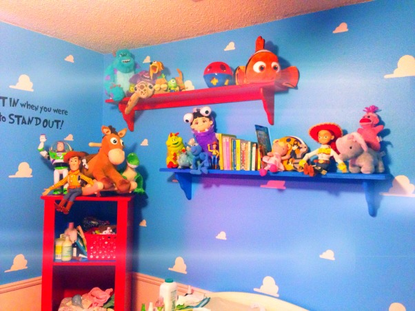 Pixar baby nursery, I'm a first time dad with my little girl Harley-Quinn who was born this November! I'm proud of what I've done for my little girl but everyone says Pixar is for boys! I have no regrets for giving my little girl a cheerful, fun, colorful nursery! What do u think? You can see the process on our Pinterest page, Courtney and Ryan Parfait., Used primary colors and pixar characters to accent. Made it as colorful as possible , Nurseries Design