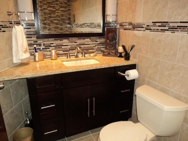 Bath Renov, Renovated small Bathroom, Granite counter top, Bathrooms Design
