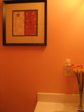 Quarter Bath, The paint color is Gertrude by Ralph Lauren and it has an orangish tint to it. , , Bathrooms Design
