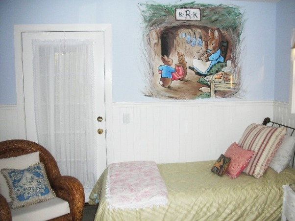 Shabby Chic on a Shabby Budget, My brother-in-law painted the mural.  Our future nursery.  I made all the linens.  All thrift store finds.  The dresser is a work in progress.  The whole room cost me less that 100 dollars!!, , Girls' Rooms Design