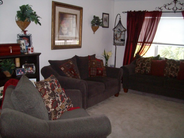 brown and burgundy, My living room is small and flows into the dining room, , Living Rooms Design