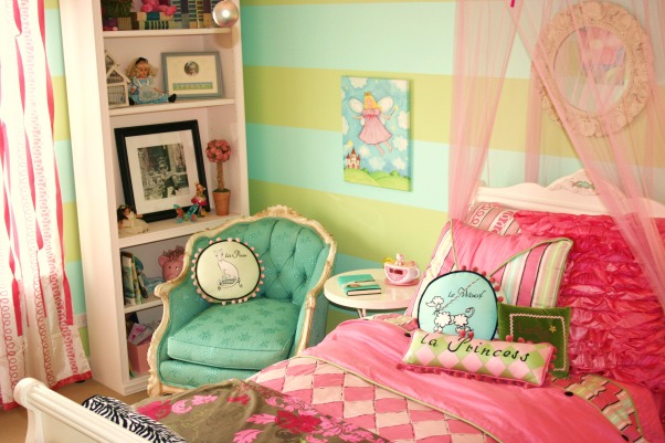 Flea Market chair fits just right, Added this flea market chair . Looks as though it was made for this room. The color was perfect., Mouthwatering vintage chair was found at a flea market- can you belive the color ? It was meant for this room. , Girls' Rooms Design