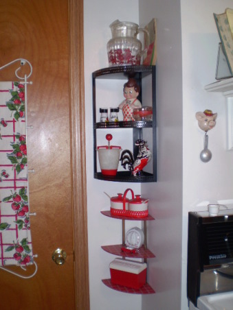 "My Retro 50's Vintage Red & White Kitchen, The basic white neutral kitchen...turned 1940's & 50's Red& White ""Blast from the past"". Fun and inviting! From cookbooks to utensils this kitchen really changes your mood! most itema were bought on ebay and at thrift stores. It is an ongoing project!, , Kitchens Design"