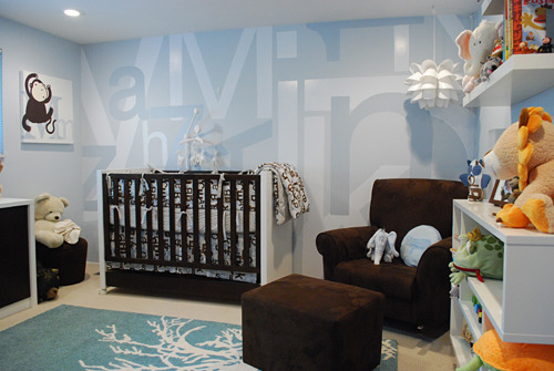 Modern Boy's Nursery, We wanted to create a boy's nursery that had a modern touch and could provide some visual stimulus.  The mural on the wall mimic's the bedding that showcases letters and numbers.  , Nurseries Design