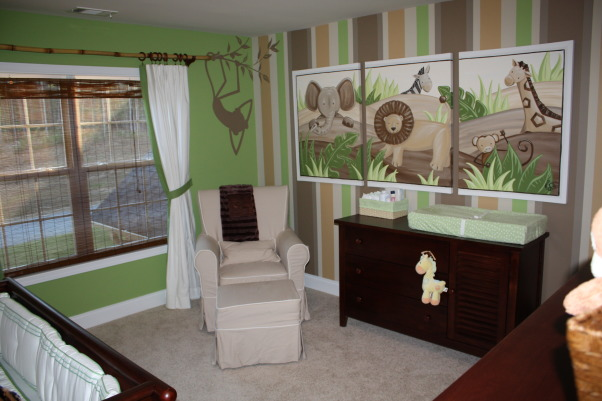 Sawyer's Safari Nursery, We can't wait for our little guy to get here to enjoy his room! We hope he loves the friendly fluffy animals and colorful stripes as much as we do!, Nurseries Design