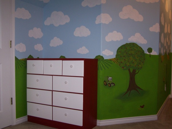 Toddler Tractor Bedroom, I created this space for my 2-year-old son who was moving out of his nursery.  His passion is for tractors so I wanted a nice looking farm room that wasn't overly John Deere themed.  I hired a muralist to paint the walls (scenes inspired by a baby quilt my BFF made) my wonderful uncle built the barn desk/bookcase and I found a cute quilt to match., Garage sale find redone!, Boys' Rooms Design