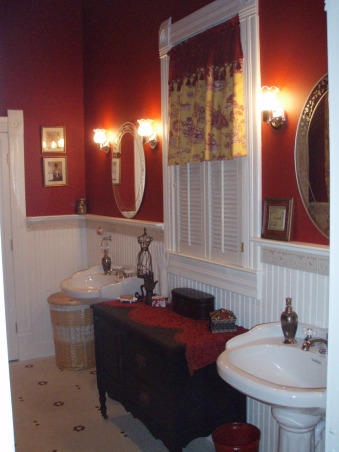 Vintage Red Bathroom, Master Bathroom of our lakehouse.  , This is the matching valance I made.  It might be a little long - what do you think?  The window is so tall I wanted to make sure we had privacy!!, Bathrooms Design