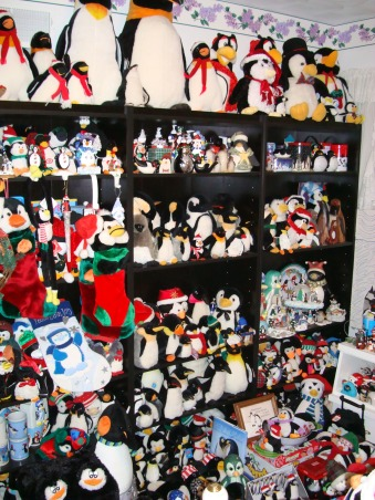 Penguin Palace, I have over 1800 penguins in my collection and about 1600 in this bedroom alone.  It wasn't to bad before when I was single but I got married two years ago and could really use the extra room now for something else besides storing my huge collection.  (But they helped me to cope getting through my divorce 7 years ago and I don't want to let go of them because they make me so happy).  But I do know I have to do something soon...., Bedrooms Design