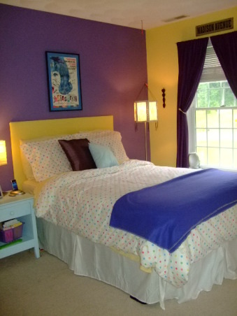 16 year old's bedroom, I designed this room around the colorful duvet we bought for the bed. I love purple so we decided to paint two walls purple and the other two yellow because they are opposites on the color wheel. We are now working to incorporate some  other colors into the room, I made my headboard out of plywood batting and yellow fabric. I also put my bed on risers to make it taller., Girls' Rooms Design