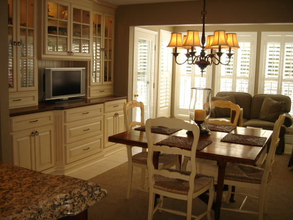 "HGTV RMS Inspiration Room - my new kitchen photos, My kitchen is one of the inspiration rooms on episode #208 of the Rate My Space Show. Thank you Angelo, Jillian and HGTV for choosing my kitchen as an inspiration room. It was quite an honor and a lot of fun being on the show. I renovated my kitchen a couple of years ago. We went from an outdated 1980's kitchen to this. The original kitchen had pickled oak cabinets with white formica countertops. I wish I had taken a ""before"" picture to show you. The change is remarkable., The table and chairs are English imports. The 48"" square table is cherry.  Each side of the table is hinged to flip up so that it can convert to an oval table or a 72"" round table. The top on the hutch is cherry and is stained like the island so that it looks more like a piece of furniture. You can see a small loveseat in the background. There is also a matching chair. It is a perfect spot to read or watch television.          , Kitchens Design"