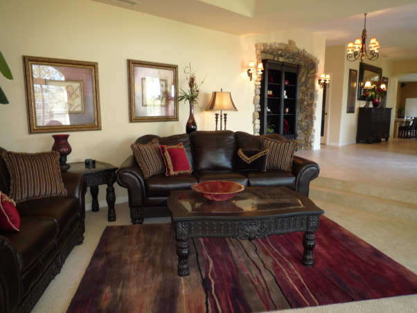 Elegant Entry, Living & Dining Room-Before and After, The foyer living room and dining room all ran together for one large space. Dramatic black furnishings with pops of red., Entryways & Halls