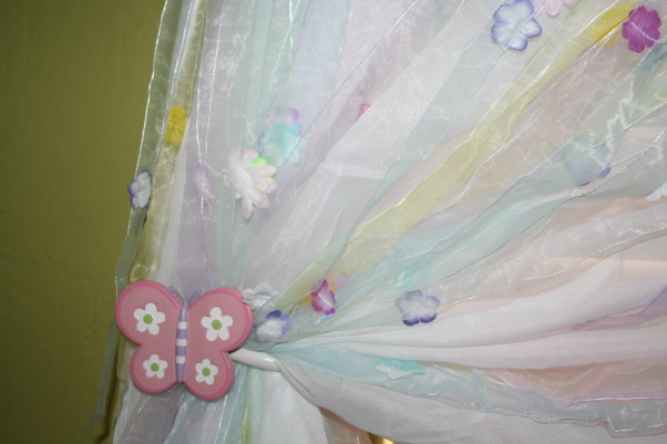 Fairy Crossing for 2 Little Girls, My 2 & 3 year old little girls share this magical bedroom.  They love all the fairies flowers and butterflies.  They spend hours jumping and trying to catch the butterflies dragonflies and fairies that are hanging from the fan ceiling and walls.  The inspiration was from the Disney Fairies and they are interspersed through out the room but the hanging butterflies and dragonflies draw in your eyes more so the fairies act like they are hiding.  , , Girls' Rooms Design