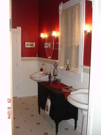 Vintage Red Bathroom, Master Bathroom of our lakehouse.  , Master bath with pedestal sinks in our lakehouse, Bathrooms Design