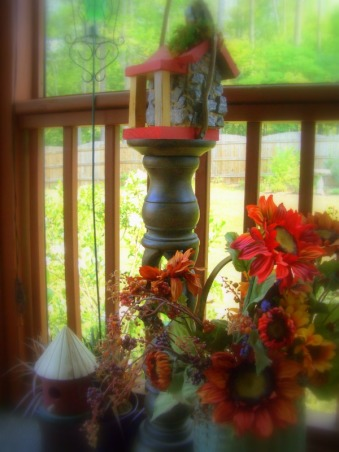 "Welcome to my porch and meet the two old ""ladies"" I rescued from the landfill ! , I picked up these two old chairs dressed them in new ""frocks"" and now they sit on my porch waiting for the next party!  Love second chances don't you? , Little birdhouse collection...., Porches Design"