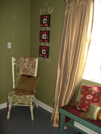 "French Country Dining in ""RED""!, Freshly painted and redecorated French Country dining room!, I just found this gorgeous throw at Hobby Lobby on their 80% off shelf...$14...it's really luxurious...beautiful fabric!, Dining Rooms Design"