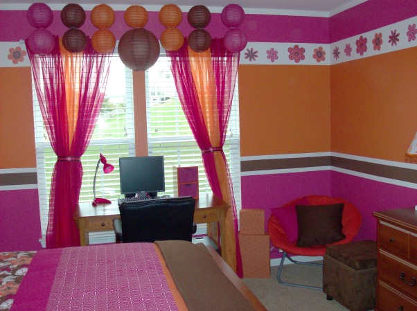 Orange,Pink,& Brown Stripes  for my 8yr old! , After finishing my 10 yr old's room (Shirt Inspiration) my 8 yr old wanted her room the same way but done with her favorite colors. We found the comforter 5 months ago so I'm just glad to have both rooms DONE!, , Girls' Rooms Design