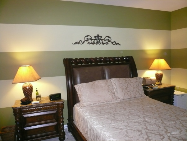 New bedroom design for conservative couple, We wanted a warm bedroom decor.  This is our third try!  We went with wide horizontal stripes in a green tone., , Bedrooms Design