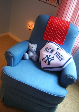 Sonny's Modern NY Yankees Baseball Nursery, Made with lots of love by me and my hubby for our little angel!  The lanterns and rugs are from ikea, storage from target and a ton of the projects were DIY., i found this chair on craigslist for $80! Any ideas for an ottoman? , Nurseries Design