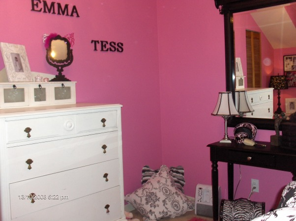 "Chic Bedroom Surprise for 8yr old girl, We've redecorated my daughters' room for a surprise!  She wanted a ""Chi-Chi Frou-Frou Paris Room"" so we went with Hot pink black and white.   This was really a reno on a budget as it cost us less than $350 as we had most of the things from her previously shabby chic room.  She shares her room with her 2 1/2 yr old sister so we made good use of a small space with a trundle bed and little sis sleeps below.  A few things to do...paint closet door paint baseboards & window trim white., , Girls' Rooms Design"