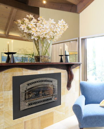 old world meets modern design, My dilema  when remodeling the previously country/lodge style bedroom with pine ceilings blue carpet and the stained glass window was that  I love the modern style yet I didn't want to part with the beautiful stained glass.  So I bridged the two by going with old world traditional dark rustic wood.  I introduced a water element with hues of blues and greens and yellow to compliment the stained glass.  , Bedrooms Design