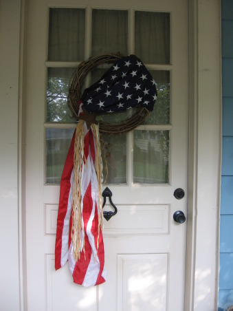 SUMMER IS OVER & FALL BEGINS, Sad to see the summer end but I do love the colors of Fall. I change the wreaths on my front door and porch with the seasons and/or holidays. Here is my flag wreath that I made., , Porches Design