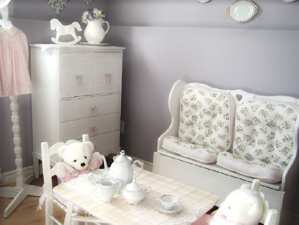 Country Girl Bedroom, This room was put together entirely from second hand finds and total costs of the decor was approx. $200.00, all of the furniture was painted white.  Little table top design was added with craft paints., Bedrooms Design