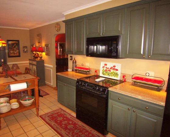 scheme is forest green burnt orange and khaki , , Kitchens Design
