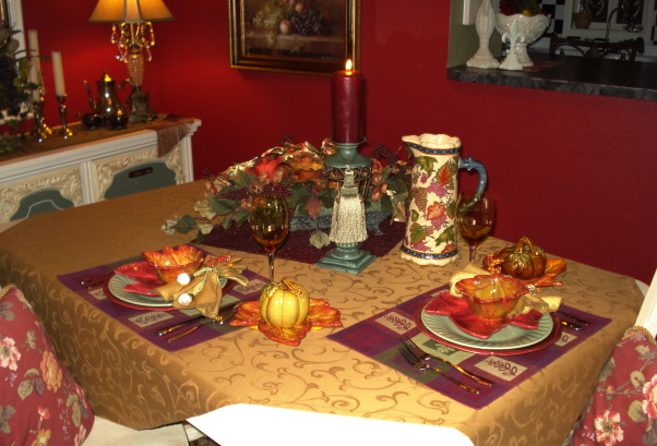 "French Country Dining in ""RED""!, Freshly painted and redecorated French Country dining room!, Autumn is here...and the chill is in the air!  A romantic dinner for two...by candlelight...is just what the evening calls for!!!  , Dining Rooms Design"
