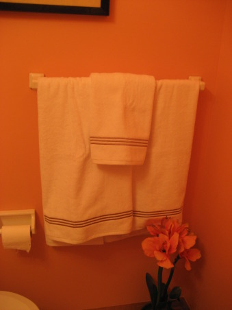 Quarter Bath, The paint color is Gertrude by Ralph Lauren and it has an orangish tint to it. , Any suggesitons for towel color/size? , Bathrooms Design