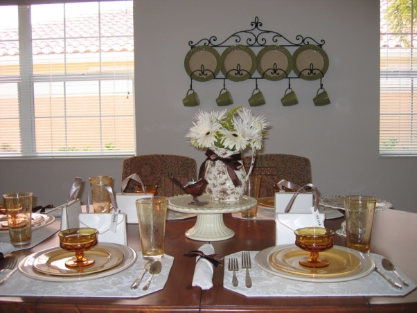 Mother's Day Table Setting, My daughter who lives out-of-state came for Mother's Day and made dinner for me and some friends.  She searched through my many cabinets of dishes and designed this table setting.  I thought it was beautiful!, , Dining Rooms Design