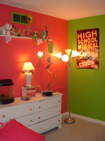 Girls Neon Room, This is my daughter's room.  We are in the process of changing the pink paint.  A little too much.  We are now in search of the perfect complementary color for the green., Girls' Rooms Design