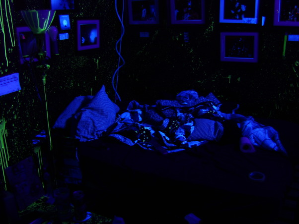 Bill's Glow In The Dark, Black Light Room, Black Walls With Glow in The Dark Paint Splattered All Over The Walls And On Some Of The Furniture..And NO It's Not Depressing., , Bedrooms Design