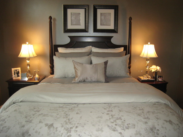 Glamorous Master Bedroom, The monochromatic color scheme in this room was inspired by the bedding. , , Bedrooms Design