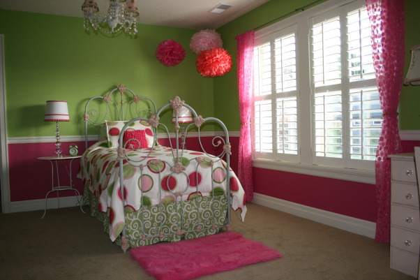 Bright and cheery room ( w/some updates), I added some sheer pink polka dot drapes from Target and painted a little desk to go by her chair. I still would like to add a dresser and bookshelf., Girls' Rooms Design