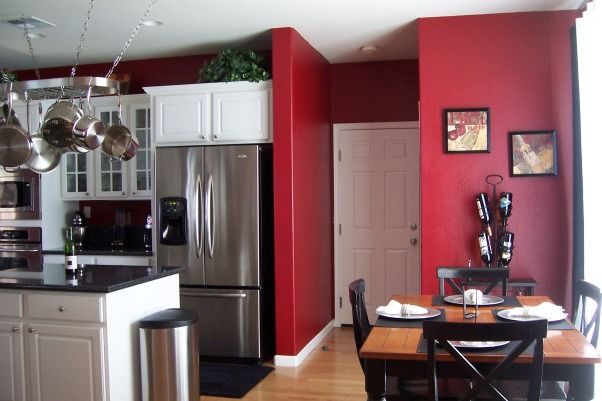 Information about rate my space questions for for Red kitchen with white cabinets