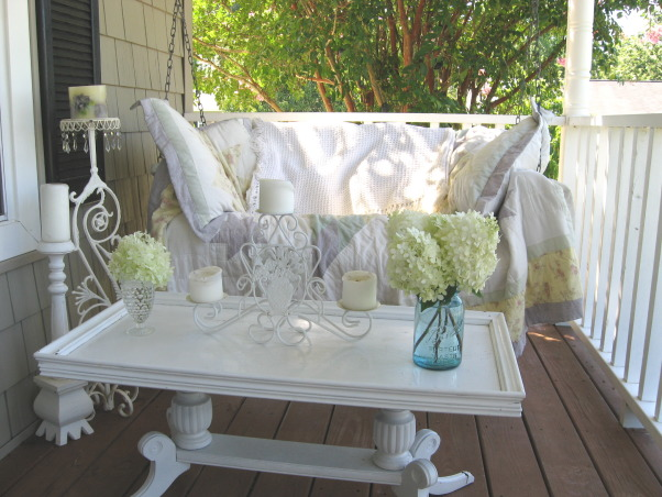 "My ""Sweet Retreat"" Cottage Porch, This is truly my ""Sweet Retreat"" and I spend lots of time here.  Come sit a spell with me......, The table was a curbside find.....my hubby thought I was crazy for putting a coffee table on the front porch!, Porches Design"