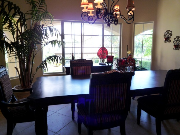 Elegant Entry, Living & Dining Room-Before and After, The foyer living room and dining room all ran together for one large space. Dramatic black furnishings with pops of red., , Entryways & Halls