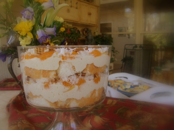 "Welcome to my porch and meet the two old ""ladies"" I rescued from the landfill ! , I picked up these two old chairs dressed them in new ""frocks"" and now they sit on my porch waiting for the next party!  Love second chances don't you? , Oh my this is my  tropical triffle....angel food cake vanilla mousse mandarin oranges coconut and almonds........care for a taste?, Porches Design"