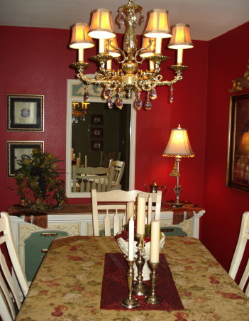 "French Country Dining in ""RED""!, Freshly painted and redecorated French Country dining room!, , Dining Rooms Design"