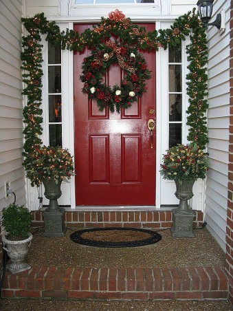 Christmas Comes To A Southern Front Porch, This is my Southern Front Porch all decorated for Christmas. I used lighted garland topiaries and a large wreath to welcome guests to my home for the holidays! , Christmas Comes To A Southern Front Porch, Porches Design