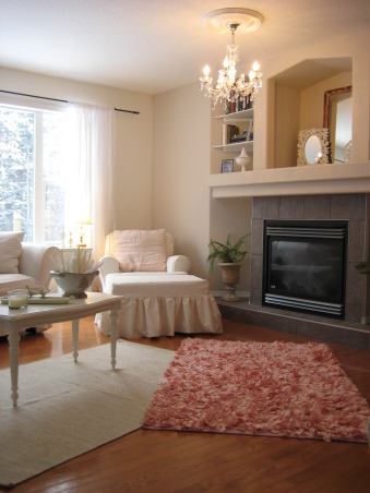 Shabby White Living Room, I like a mix of beach and cottage rooms. Because of the pups all the furniture is slipcovered  for easy cleaning. We collect antique astronomy books which is why we built the shelving on the fireplace to proudly display them. I am looking for  a nice fine moulding to finish the edges of the shelves still., , Living Rooms Design