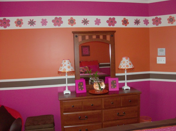 Orange,Pink,& Brown Stripes  for my 8yr old! , After finishing my 10 yr old's room (Shirt Inspiration) my 8 yr old wanted her room the same way but done with her favorite colors. We found the comforter 5 months ago so I'm just glad to have both rooms DONE!, Girls' Rooms Design